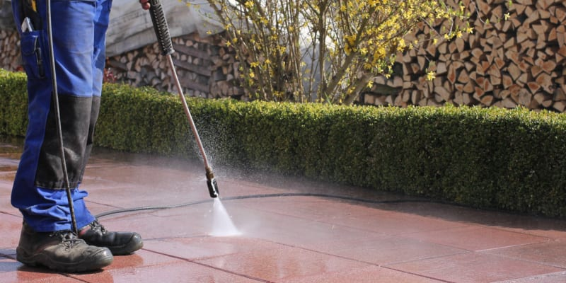 Pressure washing is using a high-powered hose